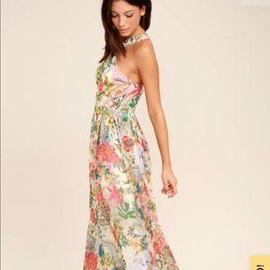 Lilja Cream Floral Print Maxi dress